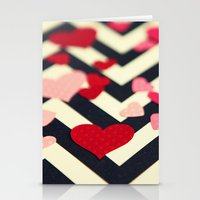 Chevron and Hearts Stationery Cards