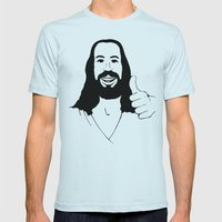 Jesus Ain't Mad At Ya Mens Fitted Tee Light Blue SMALL