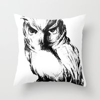 Throw Pillow featuring Owl by Mary Mohr