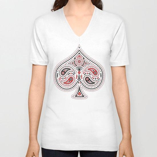 83 Drops - Spades (Red & Black) V-neck T-shirt