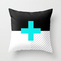 Neon Cross (Blue) // Neo… Throw Pillow