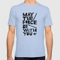 May the Force be with You - Linocut Star Wars Movie Poster Mens Fitted Tee Athletic Blue SMALL
