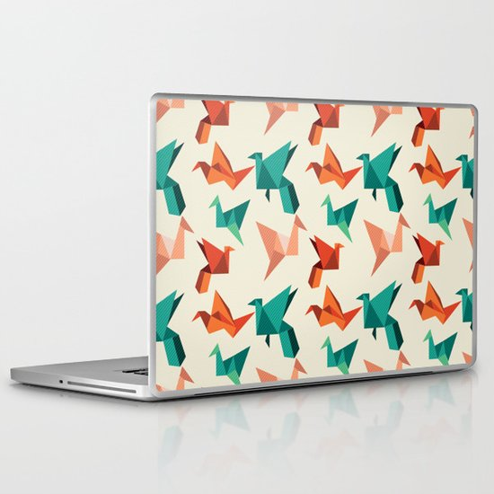 teal paper cranes Laptop & iPad Skin