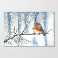 Little bird in the snow Canvas Print