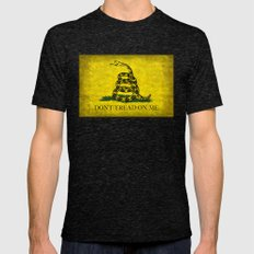Gadsden Don't Tread On Me Flag - Vintage Grunge Mens Fitted Tee Tri-Black SMALL