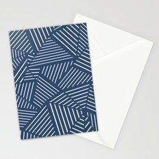 Abstraction Linear Zoom Navy Stationery Cards