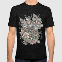 Modern Green Pink Floral… Mens Fitted Tee Tri-Black SMALL