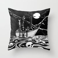Steamboat Across The Sty… Throw Pillow