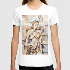 Girl with Mandolin- Tribute to Picasso Womens Fitted Tee White SMALL