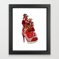 Ladies In Red Framed Art Print