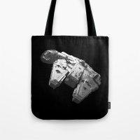 Millennium Falcon Black and White Tote Bag