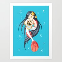 mermaid Art Prints featuring Mermaid by Freeminds