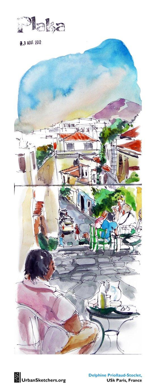 """Delphine Priollaud-Stoclet, """"Quartier de Plaka, Athènes"""" Art Print"""