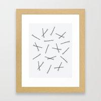 Hand Drawn Bobbi Pins Framed Art Print