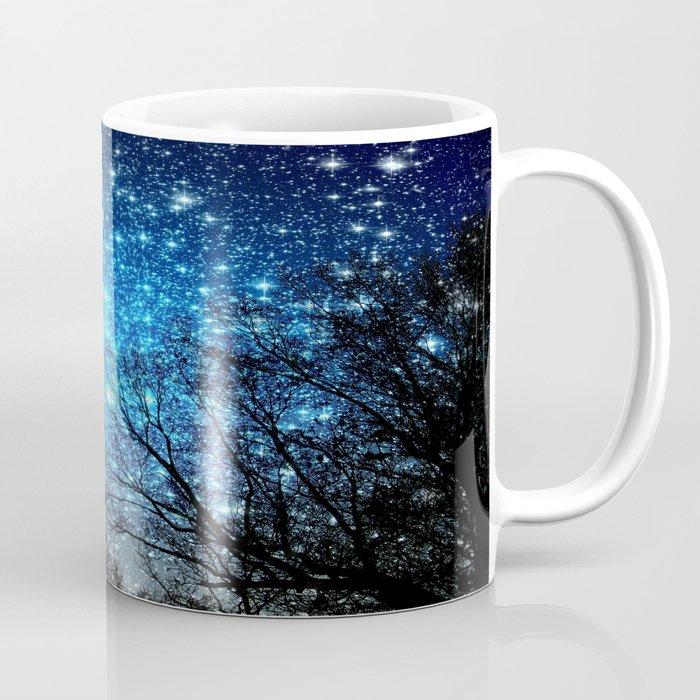 Black trees blue space mug by 2sweet4words designs society6 for Blue mug designs