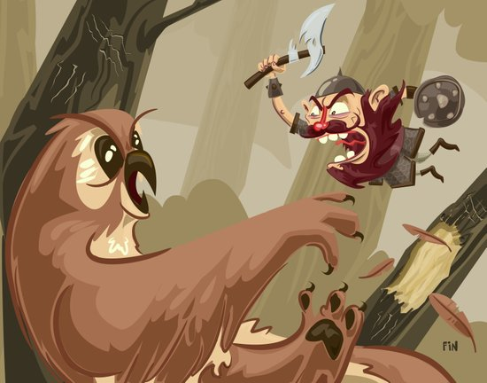 Knubby the Dwarf fights an Angry Owlbear Art Print