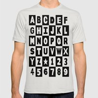 Alphabet Black and White Mens Fitted Tee Silver SMALL