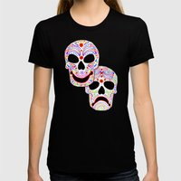 Comedy-Tragedy Colorful … Womens Fitted Tee Black SMALL