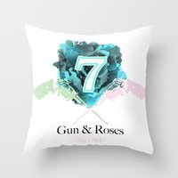 Gun & Roses Throw Pillow