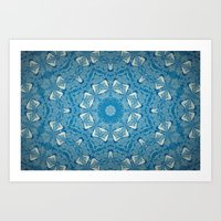 Wisdom is a Butterfly -- Bohemian Mandala in Vintage Ivory on Blue Duotone Art Print