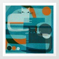 CATS ON BLUE WITH ORANGE Art Print