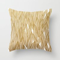 Gold & White Leaves Throw Pillow