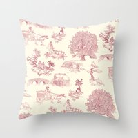 Shire Toile - Red Throw Pillow