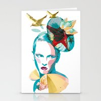 Blue woman, sea and sun Stationery Cards