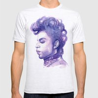 Prince Portrait Purple Watercolor  Mens Fitted Tee Ash Grey SMALL