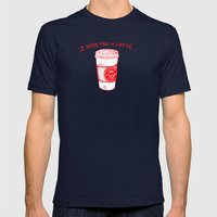 I miss you a latte Mens Fitted Tee Navy SMALL