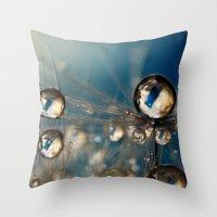 Royal Sea Blue Drops Throw Pillow