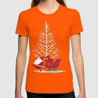 Happy Santa Womens Fitted Tee Orange SMALL