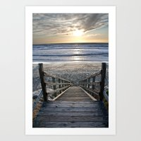 Steps To The Ocean Art Print