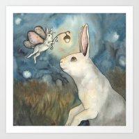 Night Bunny Fairy Art Print