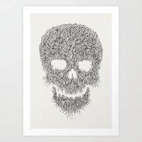 Grey Skull Illustration Art Print
