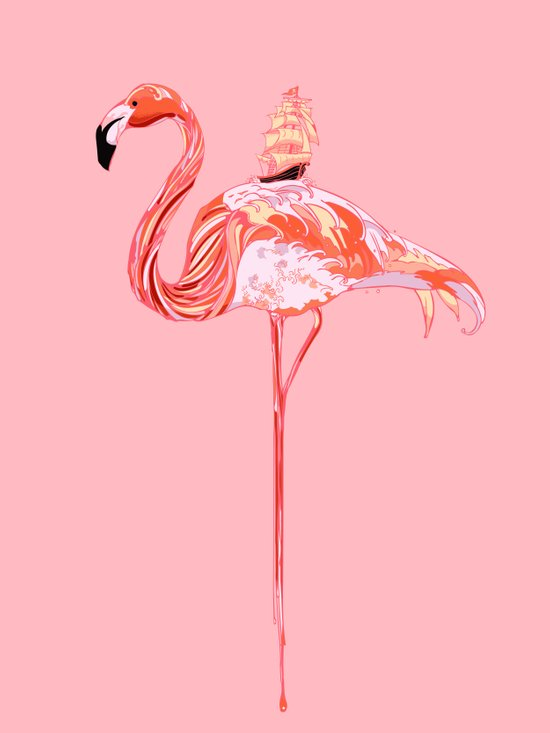Flamingo & Sea Art Print