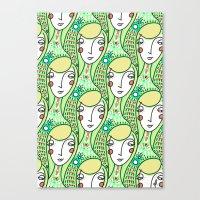 Alien Days Pattern Green Canvas Print