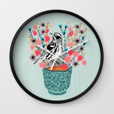 Tea and Flowers - Black and White Warbler by Andrea Lauren Wall Clock