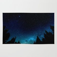 Black Trees Turquoise Milky Way Stars Rug