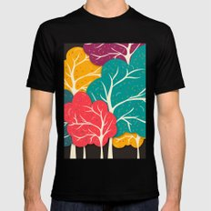Happy Forest Black SMALL Mens Fitted Tee