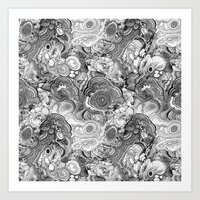 Malachite Black And Whit… Art Print
