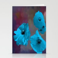 FLOWERS - Poppies Blue Stationery Cards