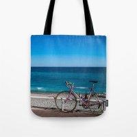Beach and the bike - Nice, France summer Tote Bag