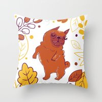 Happy Fall, Dogs! (Pug) Throw Pillow