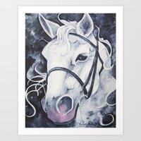 Pale White Horse Art Print