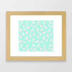 Lazy Cat Pattern Solid Framed Art Print