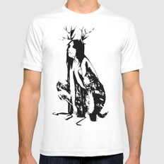 satyr White Mens Fitted Tee SMALL