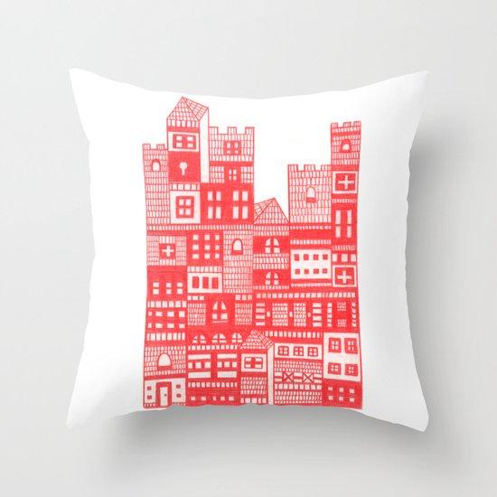 Tangerine Castle Throw Pillow