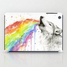 Wolf Rainbow Watercolor iPad Case