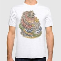 Quilted Forest: The Bear Mens Fitted Tee Ash Grey SMALL